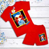 47-582207  Комплект для девочки, 5-8 лет, красный