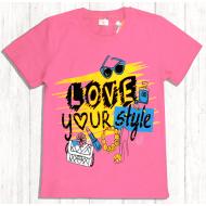 47-9120219 Футболка для девочки, 9-12 лет, розовый