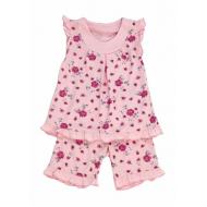 """50-02023 """"Цветы"""" Пижама летняя для девочки, розовый"""
