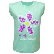 """50-020611 """"Цветик"""" футболка для девочки, ментол"""