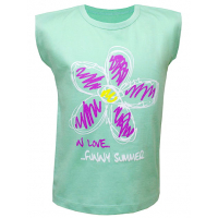 """50-02061 """"Цветик"""" футболка для девочки, ментол"""