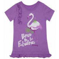 "50-020661 ""Фламинго"" футболка для девочки, сиреневый"