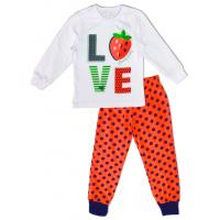 "50-0200135 ""LOVE"" Пижама для девочки, белый\горох, 98"