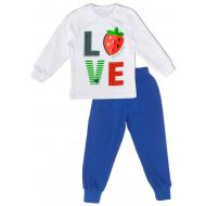 """50-0200136 """"LOVE"""" Пижама для девочки, белый\клетка, 98"""