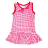 """50-020231  """"Клетка"""" Платье для девочки, красный"""