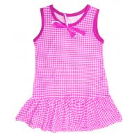 """50-020232  """"Клетка"""" Платье для девочки, сиреневый"""