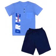 50-191041 Комплект для мальчика (поло, бриджи), голубой\т-синий