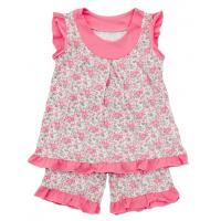 50-483141 Пижама летняя для девочки, цветы, розовый