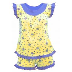 50-483142 Пижама летняя для девочки, цветы, желтый