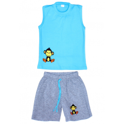 "11-142104 ""Monkey "" комплект летний для мальчика, 1-4 года, бирюза"