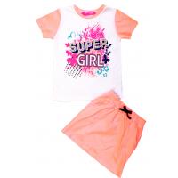 """11-373234 """"SUPER GIRL"""" костюм с юбкой, 3-7 лет, лососевый"""