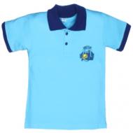 11-811701 Рубашка-поло, 8-11 лет, пике, бирюза\синий