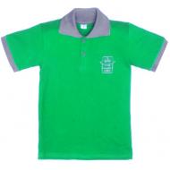11-811702 Рубашка-поло, 8-11 лет, пике, зеленый\серый