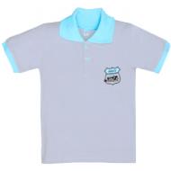 11-811704 Рубашка-поло, 8-11 лет, пике, серый\бирюза