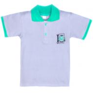 11-811705 Рубашка-поло, 8-11 лет, пике, серый\зеленый