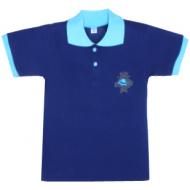 11-811706 Рубашка-поло, 8-11 лет, пике, синий\бирюза