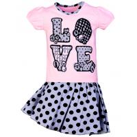 """11-585258 """"LOVE"""" комплект с юбкой для девочек, 5-8 лет, светло-розовый"""