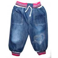 """V 030 """"Сердечки"""" брючки джинсовые для девочек, стразы, 1-4 года"""