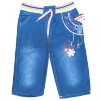 """V 215-1 """"FLOWER"""" капри джинсовые для девочек 4-7 лет"""