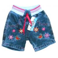 """V 223-15 """"Цветочки"""" Шорты  джинсовые для девочки 1-4 года"""