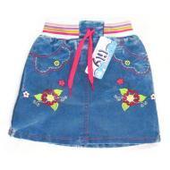 "V 224-3 ""Цветы"" юбка джинсовая 1-4 года"