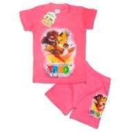 """10-142203 """"ТРИО В ПЕРЬЯХ"""" Комплект футболка-шорты, 1-4 года, розовый"""