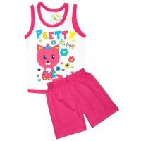 """1432-3 """"Pretty Kitty"""" комплект майка+шорты, 1-4 года"""