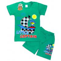 "10-142131 ""LITTLE CAPTAIN"" Комплект футболка-шорты, 1-4 года, травяной"