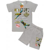 """10-142132 """"MILITARY Комплект футболка-шорты, 1-4 года, серый"""