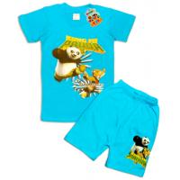 "10-142136 ""PANDA"" Комплект футболка-шорты, 1-4 года, лазурный"