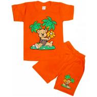 10-582105 Комплект футболка-шорты, 5-8 лет, оранжевый
