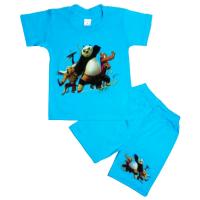 10-582107 Комплект футболка-шорты, 5-8 лет, бирюза