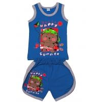 """11-143123 """"Happy"""" комплект майка+шорты, 1-4 года, синий"""