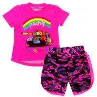 """5822-56 """"Peace"""" комплект туника-шорты, ярко-розовый 5-8 лет, ультра-розовый"""