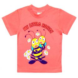 """1402-13 """"Little Honey"""" Футболка для девочек, 1-4 года, морковный"""
