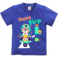 "15-140103 ""HAPPY TIRP"" Футболка для мальчиков, 1-4 года, темно-синий"