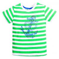 15-260124 TOPOLINO футболка, зеленая полоса, 92-116