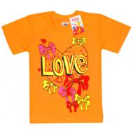 """15-260202 """"LOVE"""" футболка для девочек, 2-6 лет, морковный"""