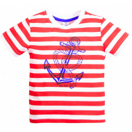 15-260101 TOPPOLINO футболка, красная полоса, 92-116