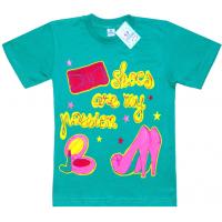 """91302-24 """"Туфельки"""" футболка для девочек, 9-13 лет, изумрудный"""