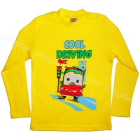 "1451-18 ""Cool Driving"" Кофта для мальчиков, 1-4 года, желтый"