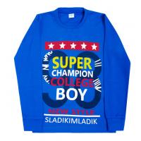 "11-581101 ""Super boy"" джемпер, интерлок, 5-8 лет, синий"