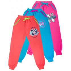 11-259201 Брюки на манжете с карманами для девочки, 2-х нитка, 2-5 лет