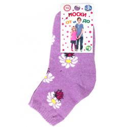 "L-0141 ""Букашки"" Носки для девочки, сиреневый"