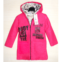 40-61206 Пальто демисезонное из буклированной шерсти 6,12 лет, фуксия