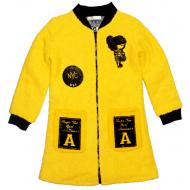 40-71211 Пальто демисезонное из буклированной шерсти 7-12 лет, жёлтый