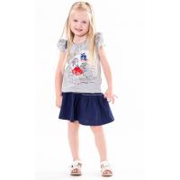 45B-26021 Костюм с юбкой для девочки, 2-6 лет, меланж\синий