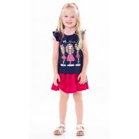 45B-26022 Костюм с юбкой для девочки, 2-6 лет, темно-синий\малиновый
