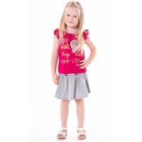 45B-26024 Костюм с юбкой для девочки, 2-6 лет, малиновый\меланж
