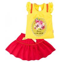 45B-26025 Костюм с юбкой для девочки, 2-6 лет, желтый\красный